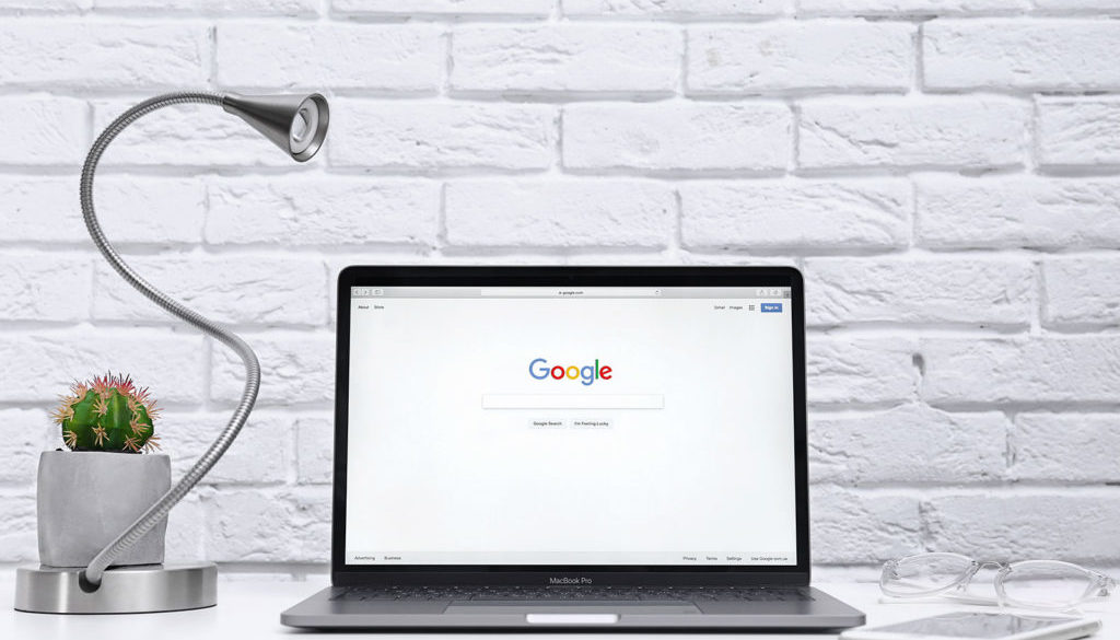 laptop open with google search